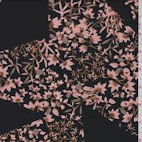 Black/Blush Fan Flower Double Knit