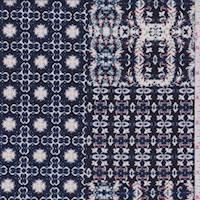 Dark Navy Multi Mottled Block ITY Jersey Knit