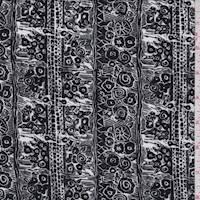 Black/White Sketch Floral Stripe ITY Jersey Knit