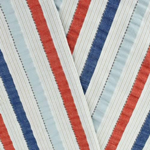 Navy Scarlet Red Multi Cotton Stripe Seersucker Decorating Fabric