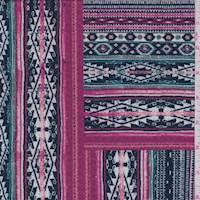 Violet/Fuchsia Aztec Block Crepe Knit