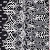 Black/White Stylized Floral Rayon Challis