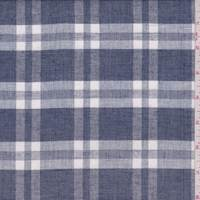 Dark Blue Plaid Linen Blend Shirting