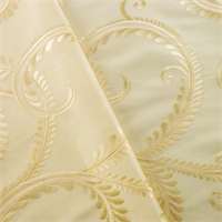 *4 YD PC--Cream Ivory Vine Embroidered Shantung Drapery Fabric