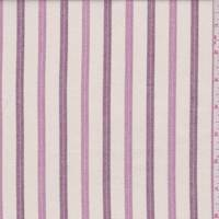 Cream/Mauve/Plum Herringbone Stripe Linen Look