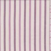 Cream/Mauve/Plum Herringbone Stripe Linen Look