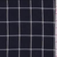 Midnight Navy WIndowpane Check Suiting