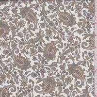 *1 3/4 YD PC--White/Gold Paisley Silk Chiffon