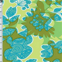 *2 1/2 YD PC--Green/Blue Floral Collage Cotton Twill Decorating Fabric