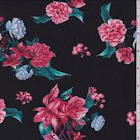 *3 YD PC--Black Tossed Floral Jersey Knit