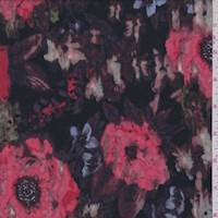 *2 3/4 YD PC--Black/Plum/Coral Floral Textured Jersey