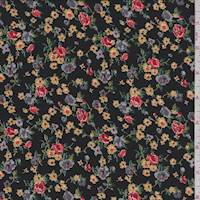 *2 1/2 YD PC--Black Mini Floral Challis