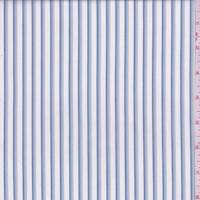 *2 1/4 YD PC--White/Dusty Blue Stripe Cotton Shirting