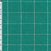 *1 YD PC--Jaded Teal Windowpane Plaid Home Decor Linen