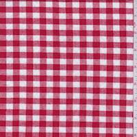 Red/White Gingham Check Cotton Seersucker
