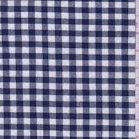 Dark Navy/White Gingham Check Cotton Seersucker