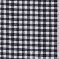 Black/White Gingham Check Cotton Seersucker