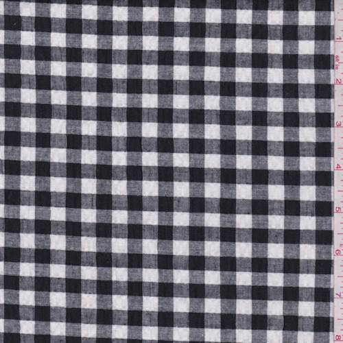 Black White Gingham Check Cotton Seersucker 76488 Fashion Fabrics