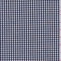 Deep Navy Gingham Check Cotton Shirting