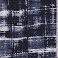 Gunmetal/Black Crosshatch Plaid Rayon Challis