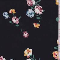 Black Multi Mottled Floral Rayon Challis