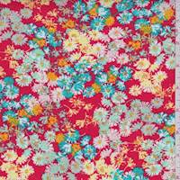 Fire Red Daisy Rayon Challis