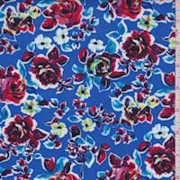 Blue Rose Floral Rayon Challis