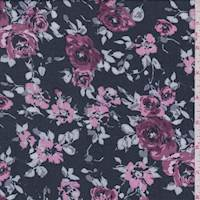 Slate Rose Floral Rayon Challis