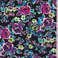 Black Rainbow Rose Floral Rayon Challis
