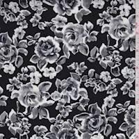 Black/Grey Rose Floral Rayon Challis