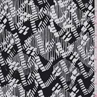 Black/White Zig Zag Rayon Challis