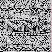 White/Black Inca Stripe Rayon Challis