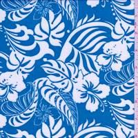 Aqua Blue Hibiscus Rayon Challis