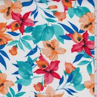 White Multi Tropical Floral Rayon Challis