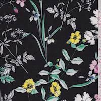 Black Multi Garden Floral ITY Jersey Knit