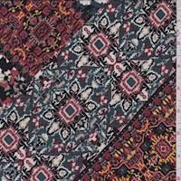 Ash Blue Multi Tile ITY Jersey Knit