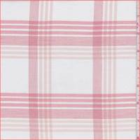 White/Rose Check Cotton Shirting