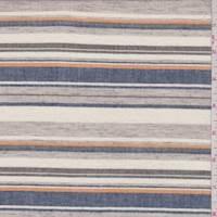 Ecru/Navy/Taupe Stripe Cotton Shirting