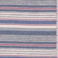 Ecru/Navy/Grey Stripe Cotton Shirting
