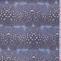 *3 3/8 YD PC--Blue Carbon Feather Stripe Silk Chiffon