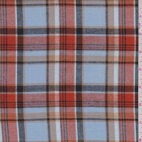Sky Blue Orange Plaid Flannel 76182 Fashion Fabrics