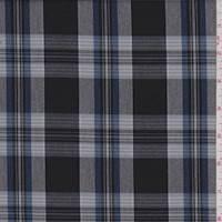 *1 1/4 YD PC--Black/Grey/Blue Plaid Shirting