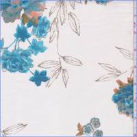 *3/4 YD PC--Ivory/Teal Floral Cotton Velveteen