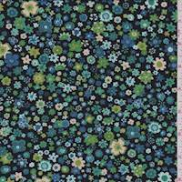 *2 1/2 YD PC--Midnight Multi Ditsy Floral Jersey Knit