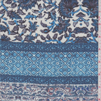 *2 1/2 YD PC--Aqua/Ivory Stylized Stripe Print Chiffon