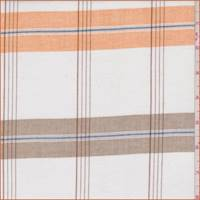 *4 3/4 YD PC--White/Orange/Cocoa Plaid Shirting