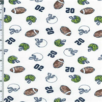 *6 YD PC--Navy Blue/Brown/Bright Green 1 X 1 Flat Rib Knit Football Fanatic Print