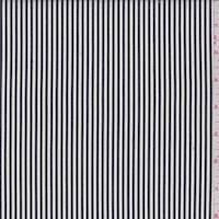 *2 1/4 YD PC--Black/White Candy Pinstripe Cotton Shirting