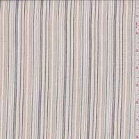 *5 1/4 YD PC--White/Tan/Black Pinstripe Cotton Lawn
