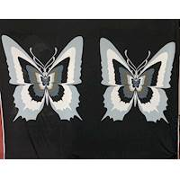 *4 PANELS--White/Black/Butterfly ITY Jersey Knit